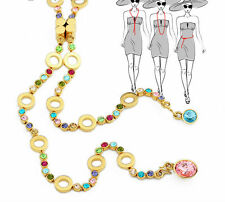 Austria Crystal Rhinestone Multi colored Gold Plated Long Chain Necklace Jewelry