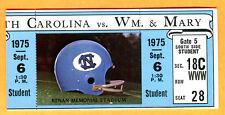 9/6/75 NORTH CAROLINA/WILLIAM & MARY FOOTBALL TICKET STUB