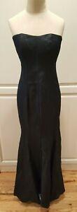 Vtg '90s Designer Black Linen/silk Mermaid Gown Dress Train 2-4* Pamela Dennis
