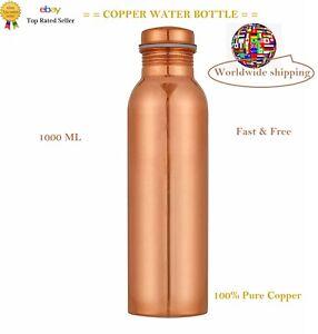 PURE COPPER WATER BOTTLE 1 LTR FLASK BEST QUALITY LEAKPROOF HEALTH BENEFITS UK