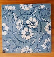 Antique Victorian pale blue stylised floral tile