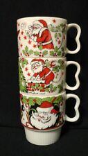 Japan Coffee Mugs Santa Ornaments Christmas Stackable Vintage Set of 3