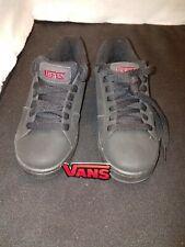 NWOB Boy's 5.5/Women's 7.5 VANS Black Lea. Red Logo WIDOW Fashion Sneaker Shoes