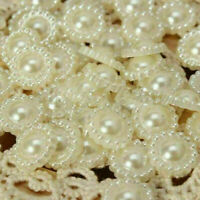 BIN 100Pcs Ivory Flat Back Flower Beads Wedding Cards Embellishments SALE N S6C3