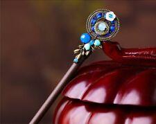 HANDMADE Women Hair Pin Flower Blue Agate Classic Hairpin Wood Stick FREE GIFT