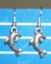 "Dolfin Earrings on Silver plate fish hook wire ""275"" UK Free Post boxed dolfin"