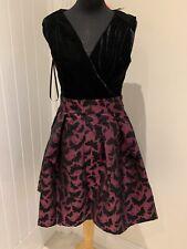 Joe Browns Pink Black Cocktail Party Dress UK 10 12 Jacquard Velour Butterfly