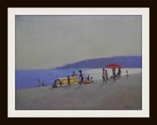 Sombrillas y rompe viento: pintura al óleo originales por Zlatan Pilipovic 40cm X 30cm