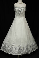 Eternity Bridal Wedding Cosplay Dress D505 Silver Black Big Train Beaded 8 368