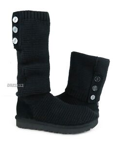 UGG Purl Cardy Knit Black Knit Fur Boots Womens Size 8 ~NEW~