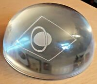 Unusual Vintage Domed Clear Glass Paperweight Etched With Planet Saturn  VGC