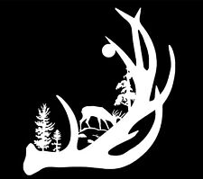 Deer Antler with Buck forest back ground Vinyl Decal Sticker Car Truck Window
