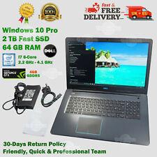 """READ! DELL 17.3"""" 64GB RAM 2TB SSD 2.2GHz 6-Core i7 nVIDIA GTX 4GB Laptop > 1TB"""