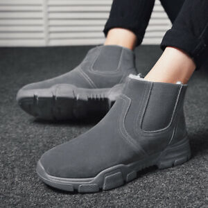 Winter Warm Fleece Lined Shoes Casual Mens Brown Faux Suede Pull On Ankle Boots