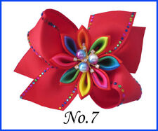 "2 BLESSING Good Girl 4.5"" Coral Hair Bow Clip Rainbow Rhinestone Pearl Flower"