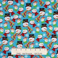 Christmas Fabric - Frosty Flakes Snowman Head Toss Blue - Henry Glass YARD