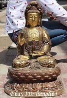 """22"""" Chinese Bronze Gilt Seat Kwan-yin Guan Yin Bodhisattva Goddess Buddha Statue"""