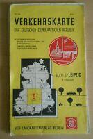 Verkehrskarte der DDR Blatt 6 Leipzig VEB Landkartenverlag 1967 Ostalgie