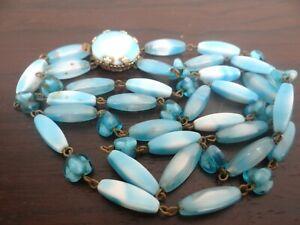 Collier ancien vintage perles turquoises double rangs Murano ?? fermoir bijou