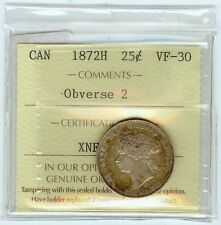 Canada 1872 H quarter 25 cent Obverse 2 NGC/ICCS VF30