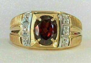 Men's 2.50Ct Oval Cut Garnet & Diamond Wedding Pinky Ring 14K Yellow Gold Over