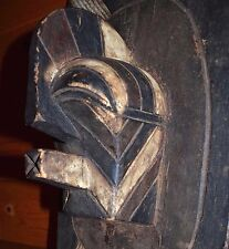 Vintage African Songye Tribe Carved Wall Plaque Kifwebe Mask Design Congo Africa