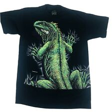 Vintage 95 Habitat Blue Single Stitch Double Sided Lizard Graphic T Shirt Size M