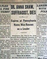 ANNA HOWARD SHAW Women's Suffrage & Temperance Leader DEATH 1919 Old Newspaper
