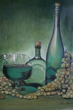 Vintage Wine Cellar Bottles Glass Grapes Tuscan 18x14 Oil On Canvas Painting