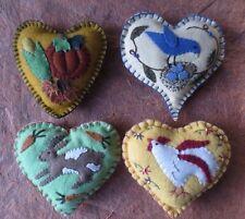 ooak lot 4 handmade needle felt wool heart ornaments decor animals fall