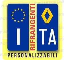 ADESIVI BLU RIFRANGENTI PER TARGA AUTO EUROPEA CON SIMBOLO RENAULT E PROVINCIA