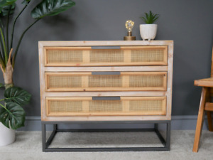 Rustic Chest Drawers Vintage Industrial Cabinet Rattan Storage Sideboard Unit