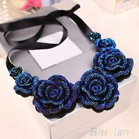 NEW Stunning Navy Iridescent Flower Collar Necklace, UK Seller