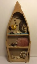 Handmaid Wooden Boat With Sea Decorations.