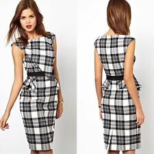 Karen Millen Multi Graphic Check Peplum Wiggle Cocktail Business Dress UK 12 40
