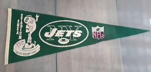 VINTAGE 1960's New York Jets SHEA STADIUM  Pennant - FULL SIZE