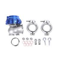 38MM TURBO EXHAUST MANIFOLD BLUE EXTERNAL V-BAND WASTEGATE+DUMP PIPE VALVE/RING