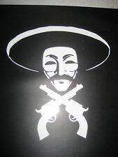ANONYMOUS Bandito w sombrero & crossed guns vinyl Sticker Decal lot Anon 4cHAN