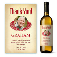 Thank You photo personalised Wine Label Gift