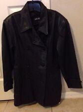 Vintage LUIS ALVEAR 100% LEATHER Jacket Women's Size Medium Black Coat