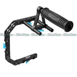 FOTGA C-Shape Arm Bracket Cage +Top Handle Support for 15mm Rod DSLR Rig 5D2 5D3