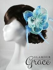 Emilie blue fascinator headpiece hat wedding bridal races clip Melbourne Cup