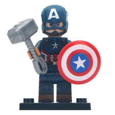 Captain America (Worthy) - Marvel Lego Moc Minifigure, Includes Thor Hammer