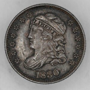 1830 CAPPED BUST HALF DIME H10C SILVER AU ABOUT UNCIRCULATED (3110)