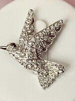 SWAROVSKI HUMMINGBIRD CLEAR CRYSTAL PAVE PIN/BROOCH - Silver Tone (Swan Signed)