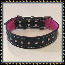 Large Black Leather & Soft Pink Suede Inner Lining Dog Collar & Pink Crystals