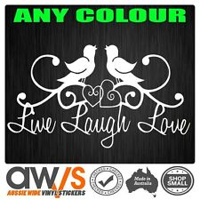 LIVE LAUGH LOVE STICKER DECAL BIRDS HEART / FOR GIRLS CAR WINDOW WALL CUTE GIRLY