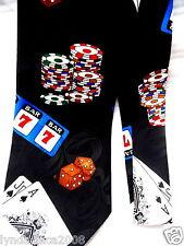 Casino Slots Blackjack Poker Chips Necktie 100% Silk!