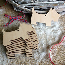 Wooden SCOTTIES for Christmas Decoration Tag Art Craft Embellishments Shapes x10