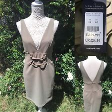 New Look Size 14 Khaki Green Bodycon Dress Criss Cross BNWT £24 Stretch Fitted